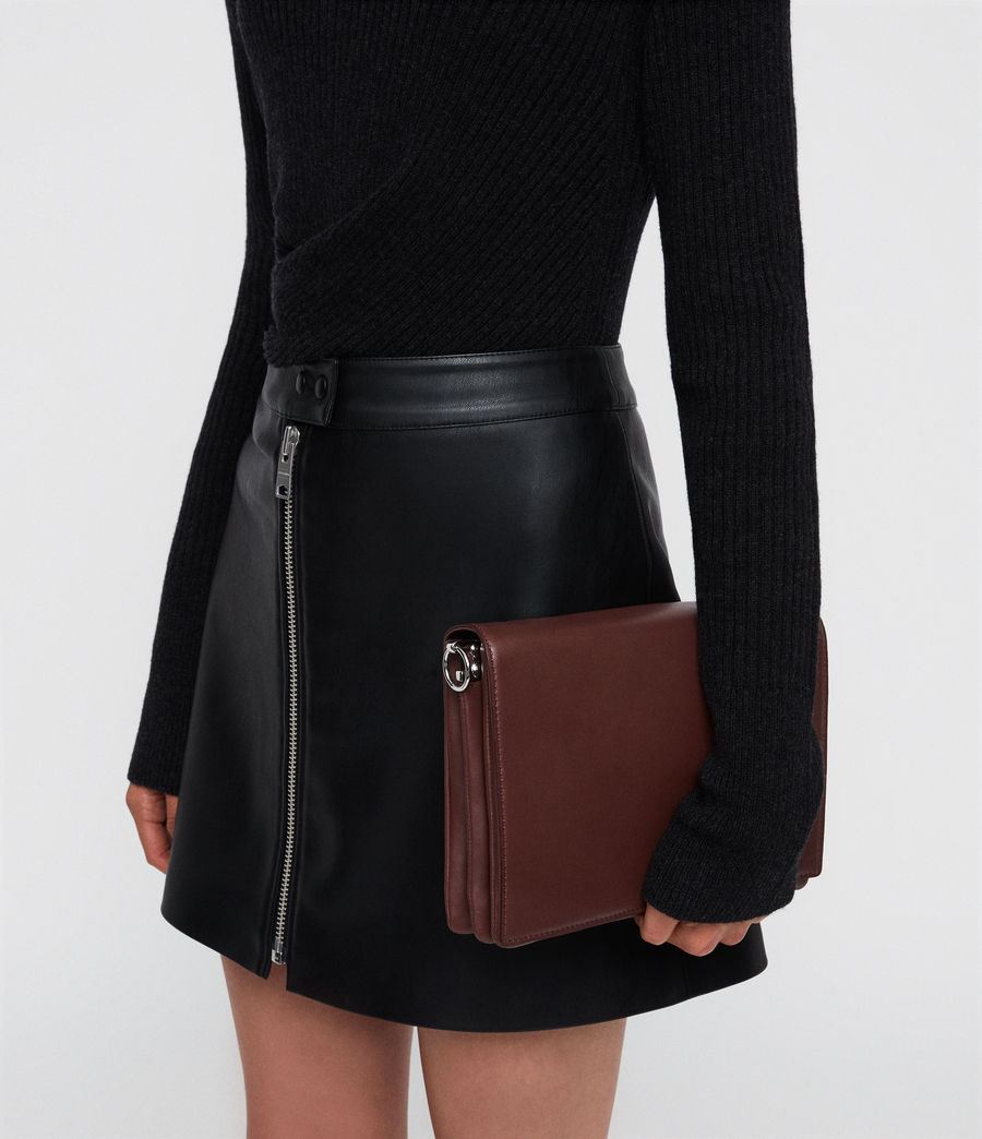 Mujer Zep Leather Box Bag (port_burgdy_oxbloo) - Image 5