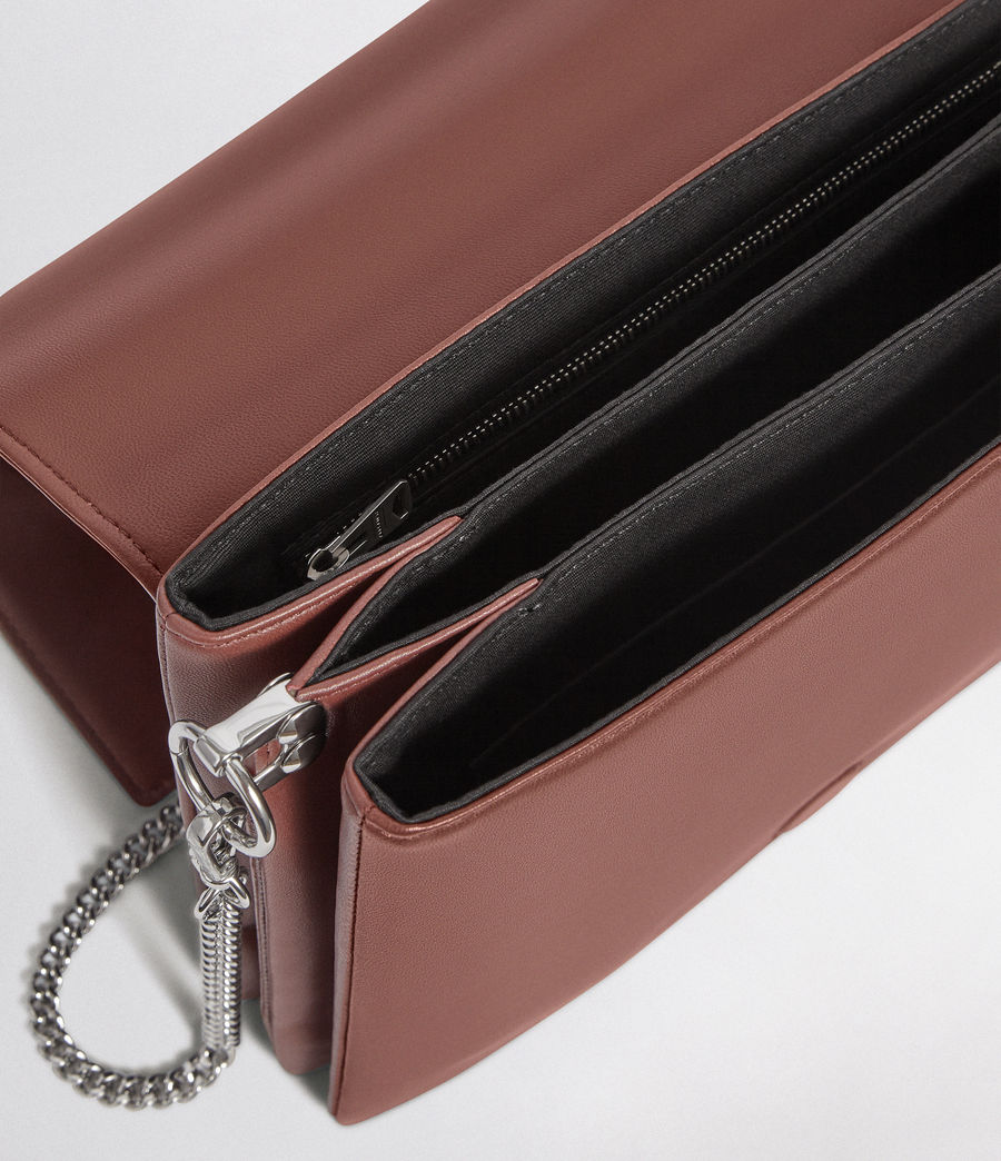 Womens Zep Leather Box Bag (port_burgdy_oxbloo) - Image 7