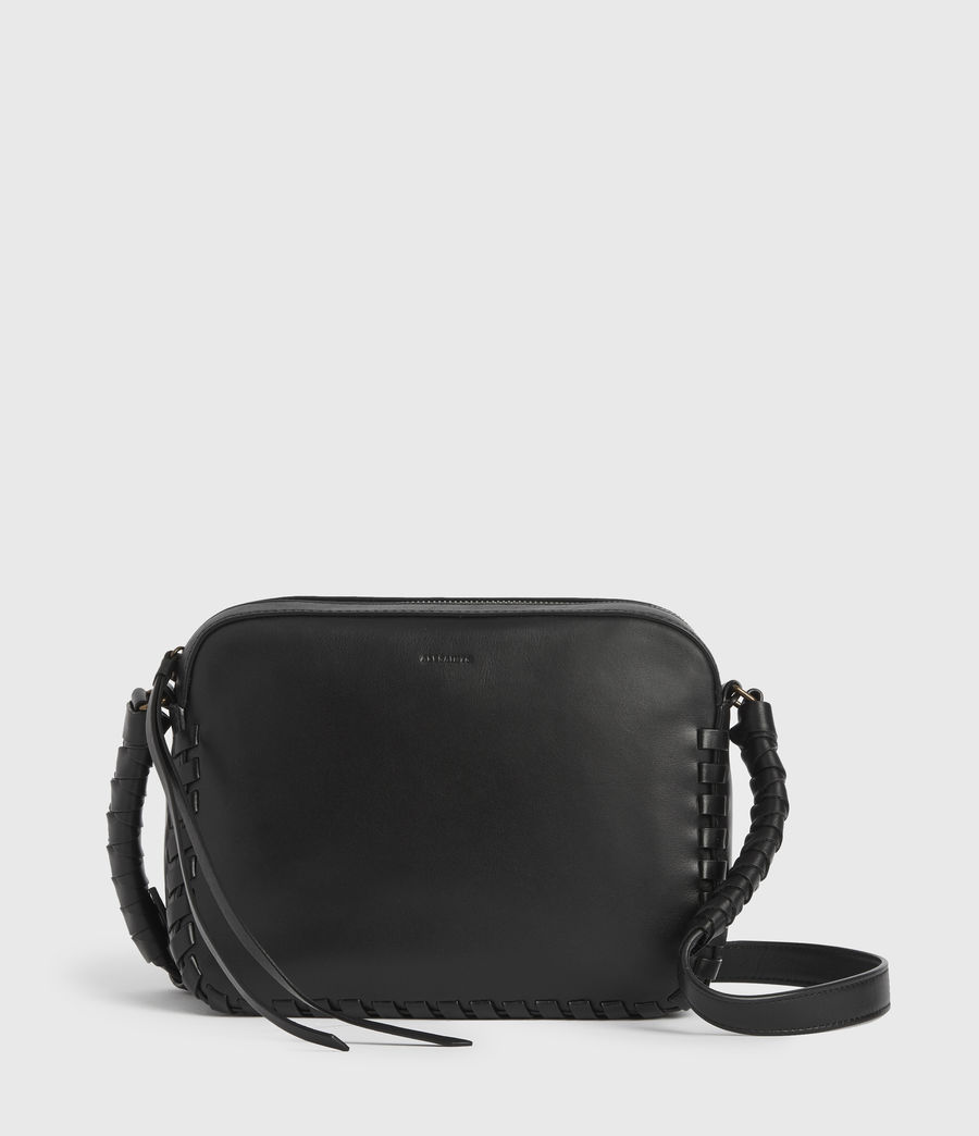 Womens Courtney Square Leather Crossbody Bag (black) - Image 1
