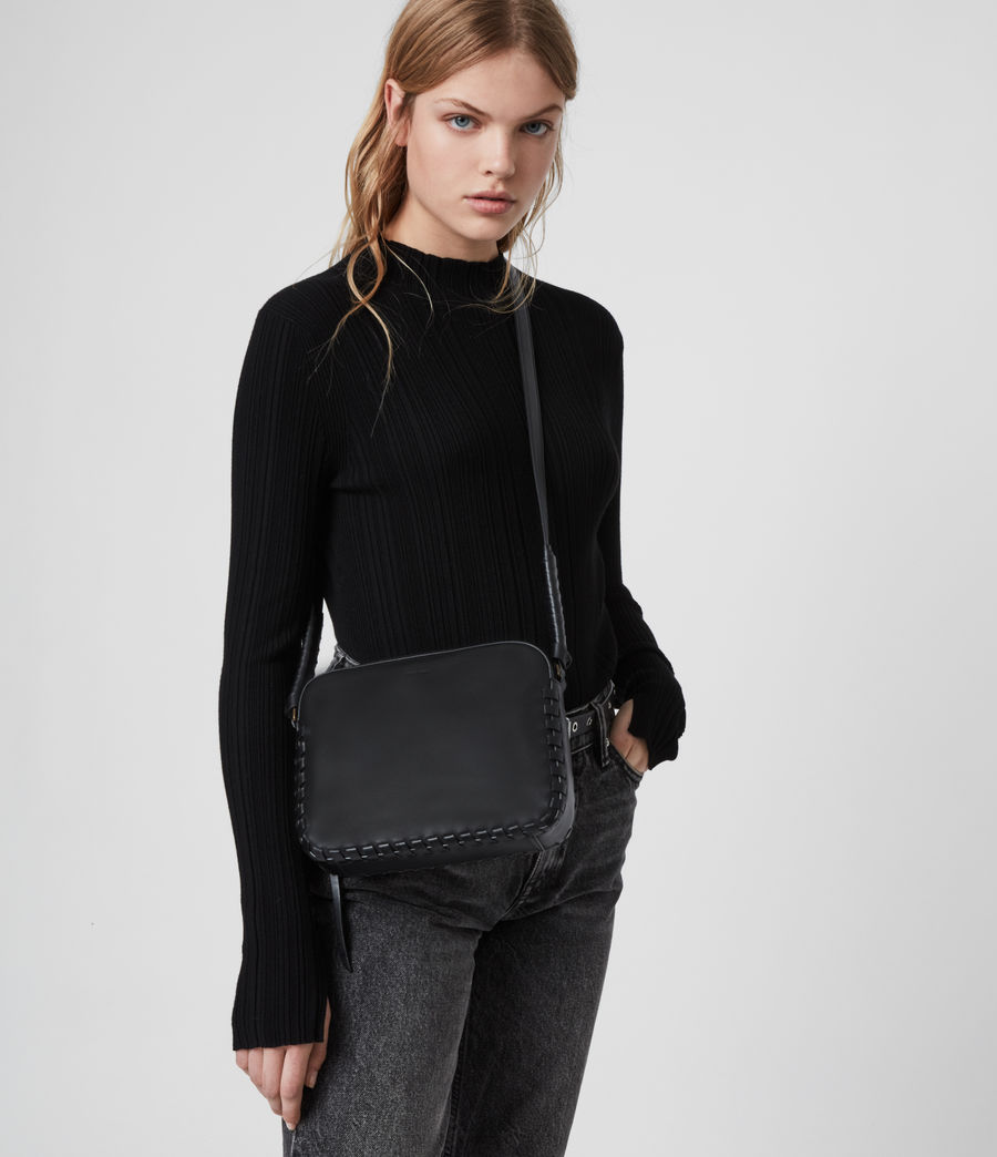 Womens Courtney Square Leather Crossbody Bag (black) - Image 2
