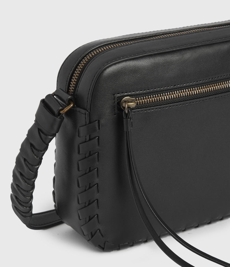 Womens Courtney Square Leather Crossbody Bag (black) - Image 4