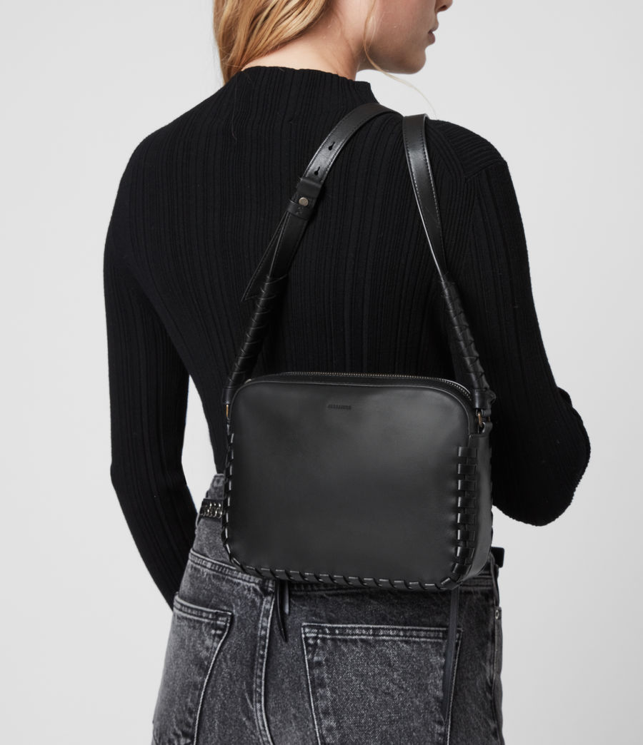 Womens Courtney Square Leather Crossbody Bag (black) - Image 8