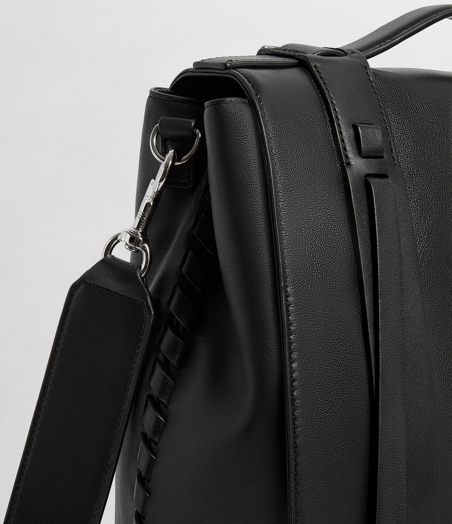 Womens Fin Leather Shoulder Backpack (black) - Image 3