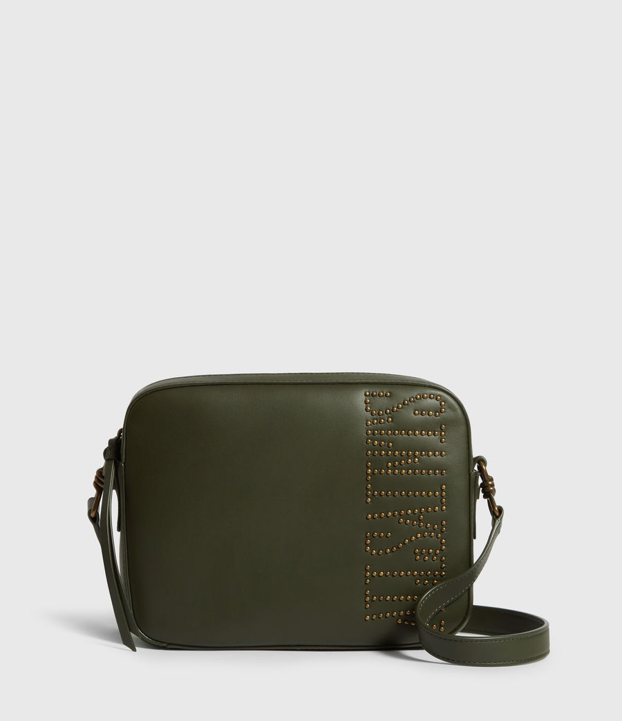 Womens Nina Stud Square Leather Crossbody Bag (khaki_green) - Image 1