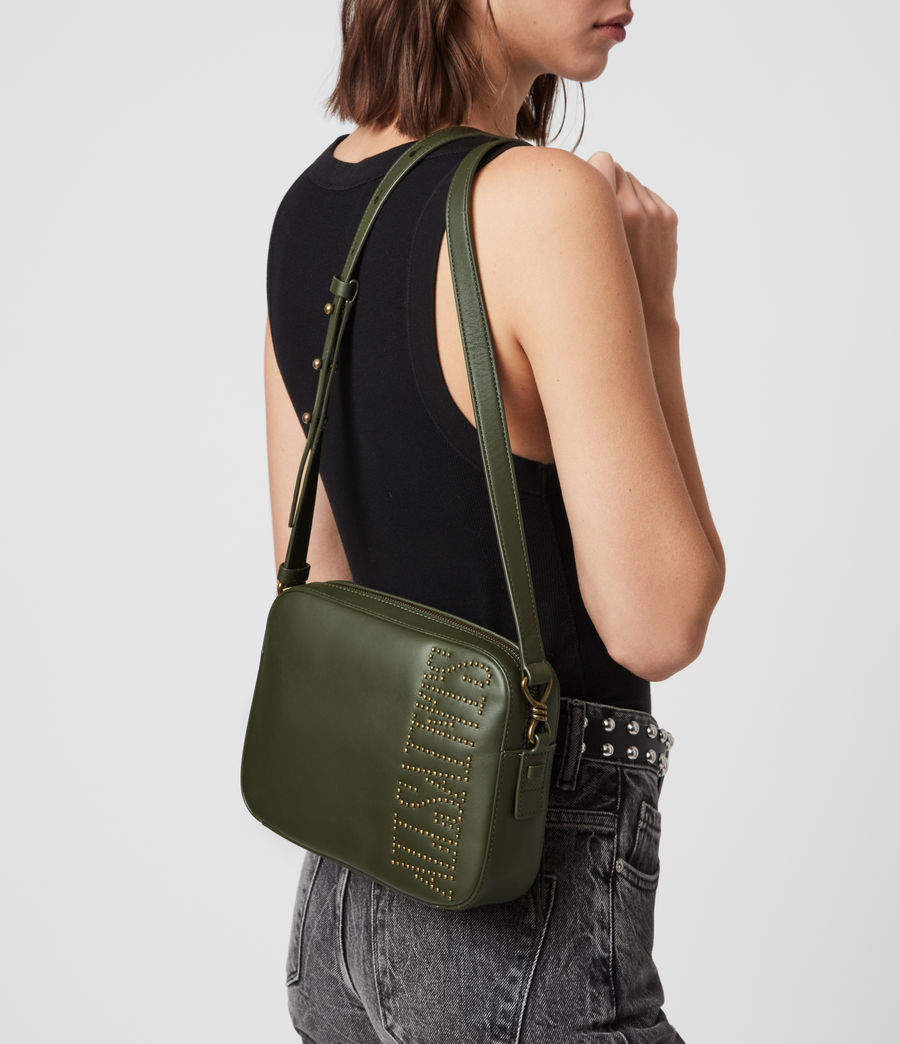 Womens Nina Stud Square Leather Crossbody Bag (khaki_green) - Image 2