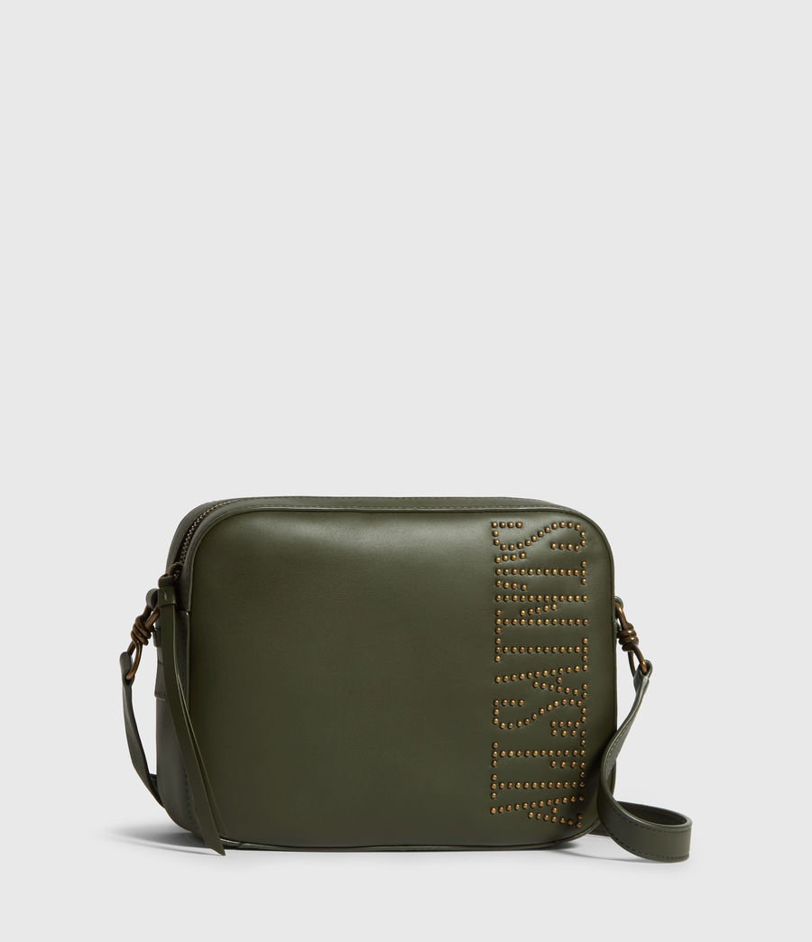 Womens Nina Stud Square Leather Crossbody Bag (khaki_green) - Image 3