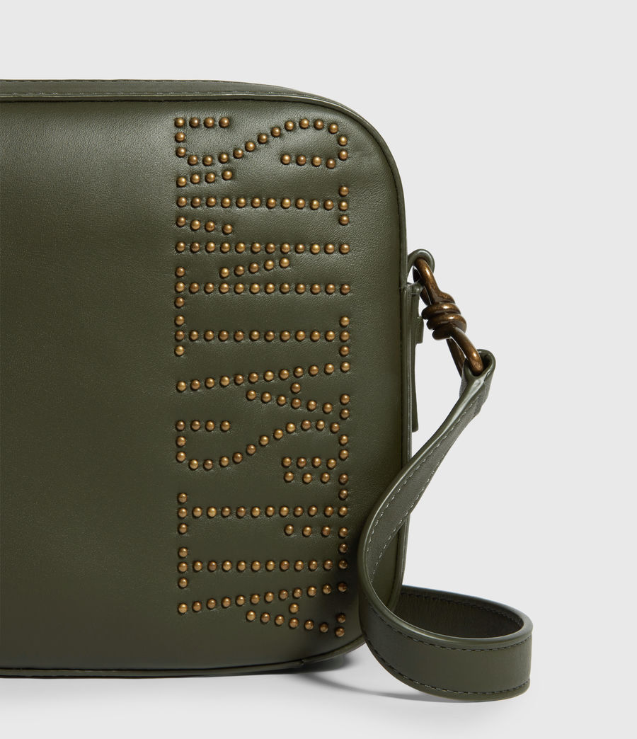 Womens Nina Stud Square Leather Crossbody Bag (khaki_green) - Image 6