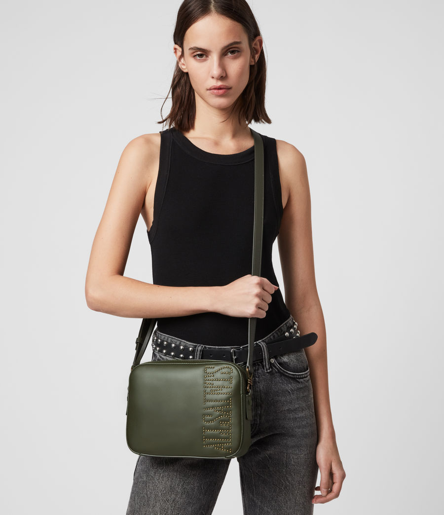 Womens Nina Stud Square Leather Crossbody Bag (khaki_green) - Image 8