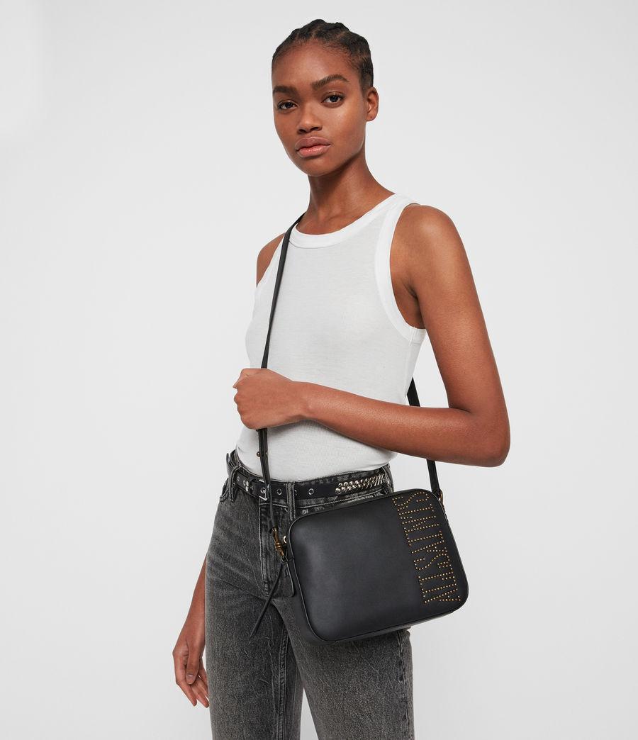 Womens Nina Stud Square Leather Crossbody Bag (black) - Image 2