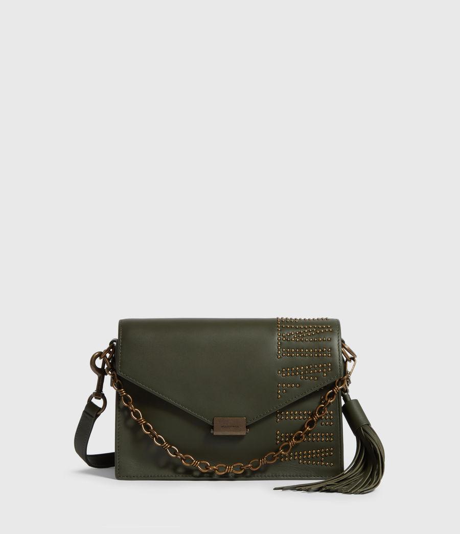 Damen Nina Stud Leather Crossbody Bag (khaki_green) - Image 1
