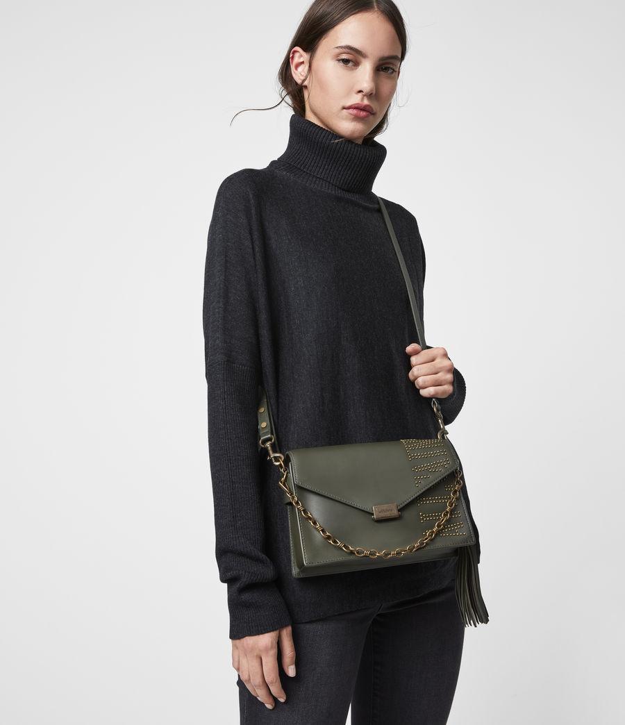 Damen Nina Stud Leather Crossbody Bag (khaki_green) - Image 2