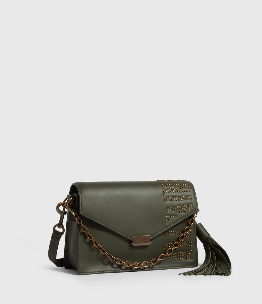 Damen Nina Stud Leather Crossbody Bag (khaki_green) - Image 3
