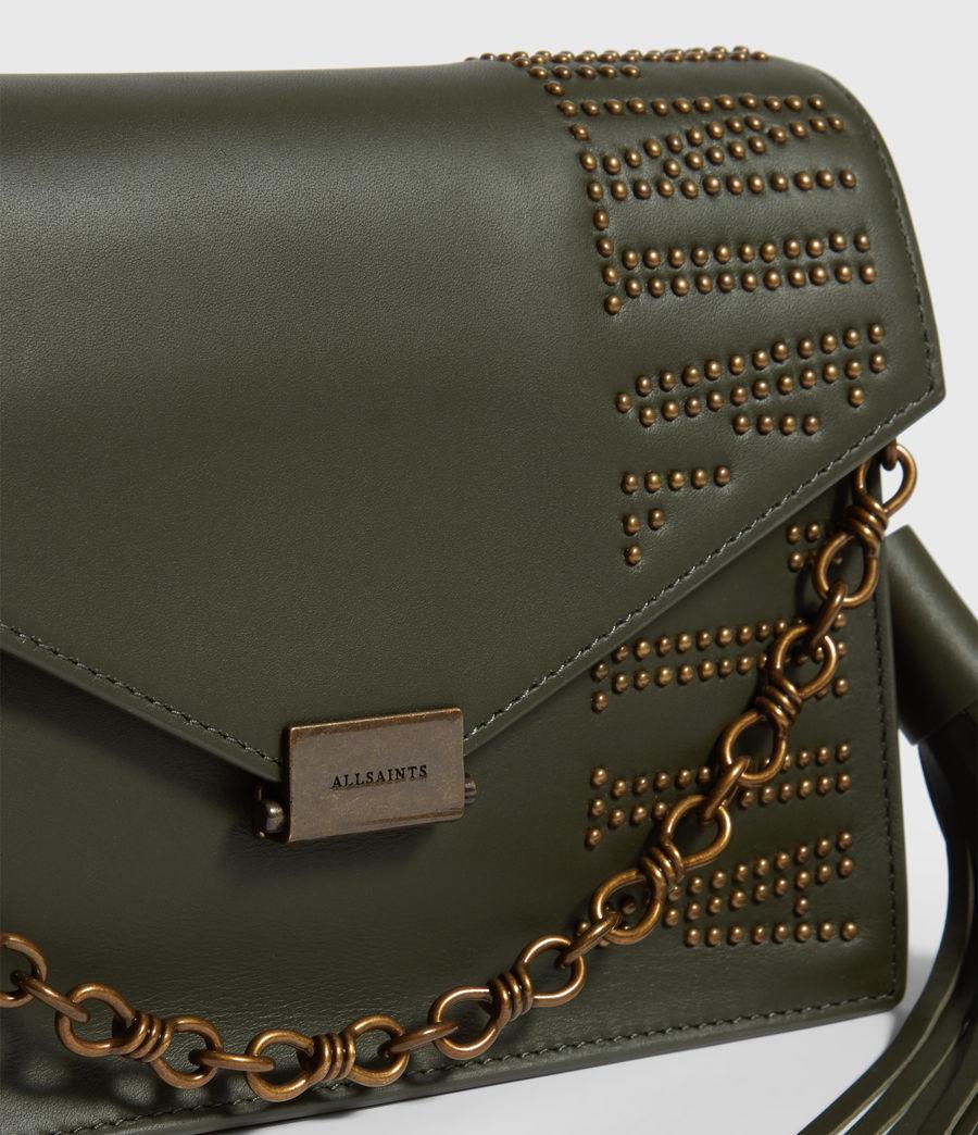 Damen Nina Stud Leather Crossbody Bag (khaki_green) - Image 4