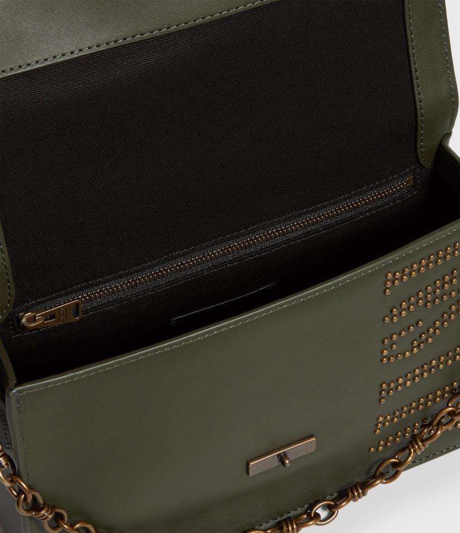 Damen Nina Stud Leather Crossbody Bag (khaki_green) - Image 5