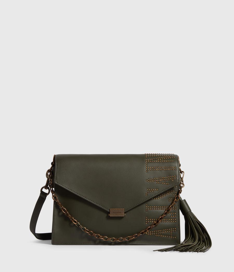 Women's Nina Stud Leather Shoulder Bag (khaki_green) - Image 1