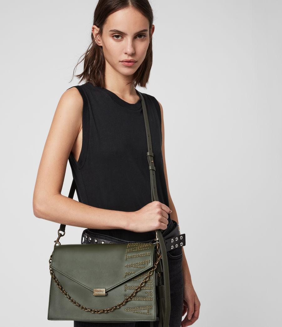 Women's Nina Stud Leather Shoulder Bag (khaki_green) - Image 2