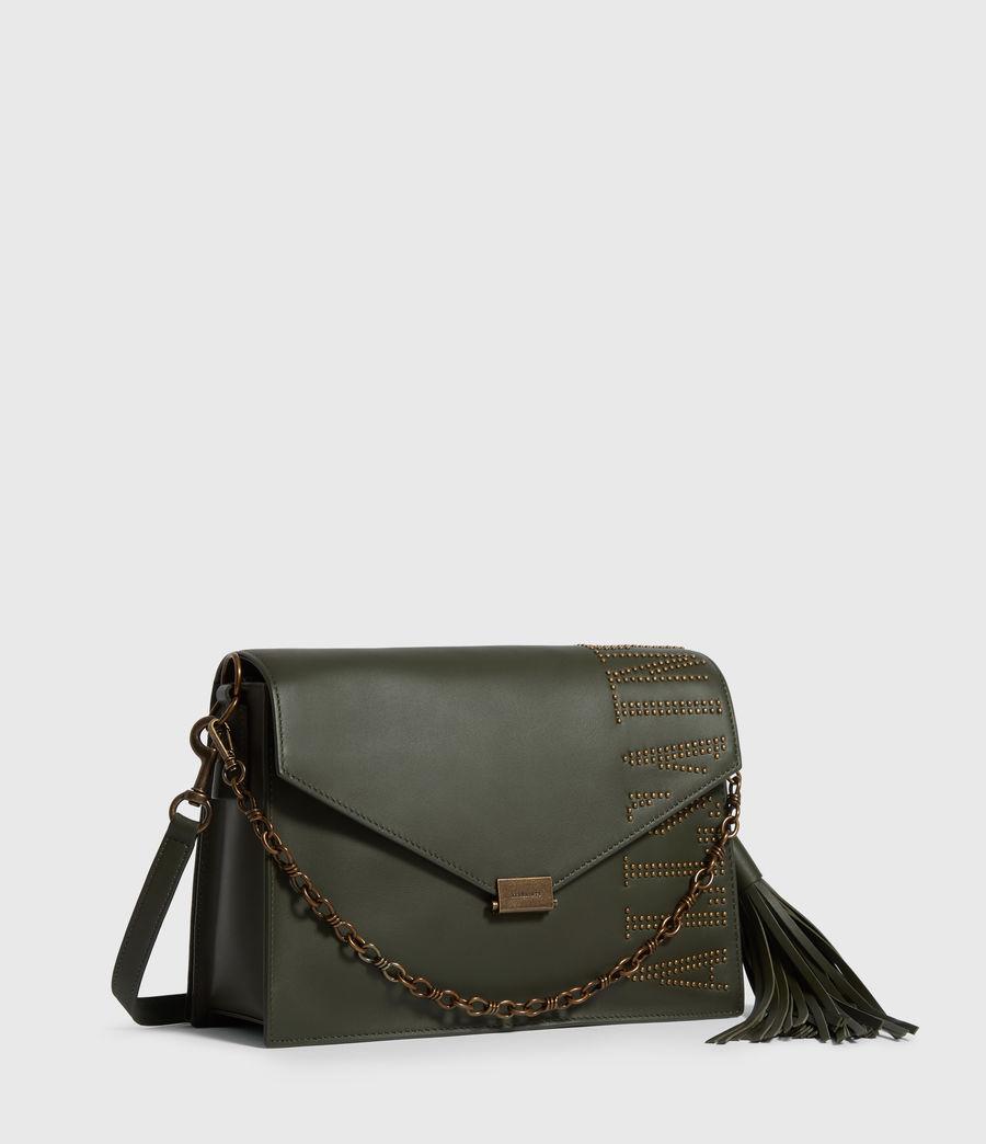 Women's Nina Stud Leather Shoulder Bag (khaki_green) - Image 3