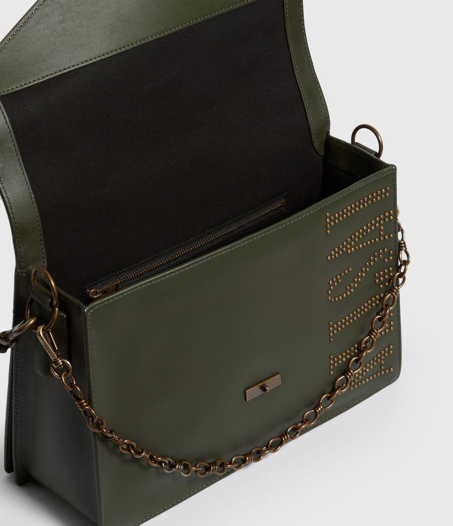 Women's Nina Stud Leather Shoulder Bag (khaki_green) - Image 4