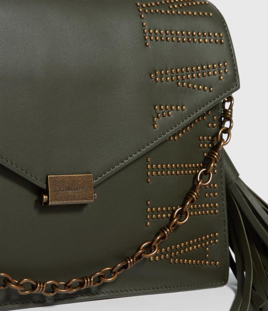 Women's Nina Stud Leather Shoulder Bag (khaki_green) - Image 5