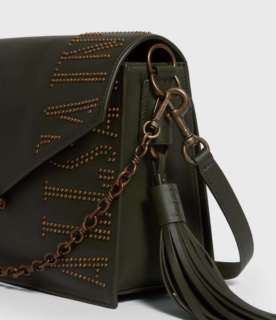Women's Nina Stud Leather Shoulder Bag (khaki_green) - Image 6