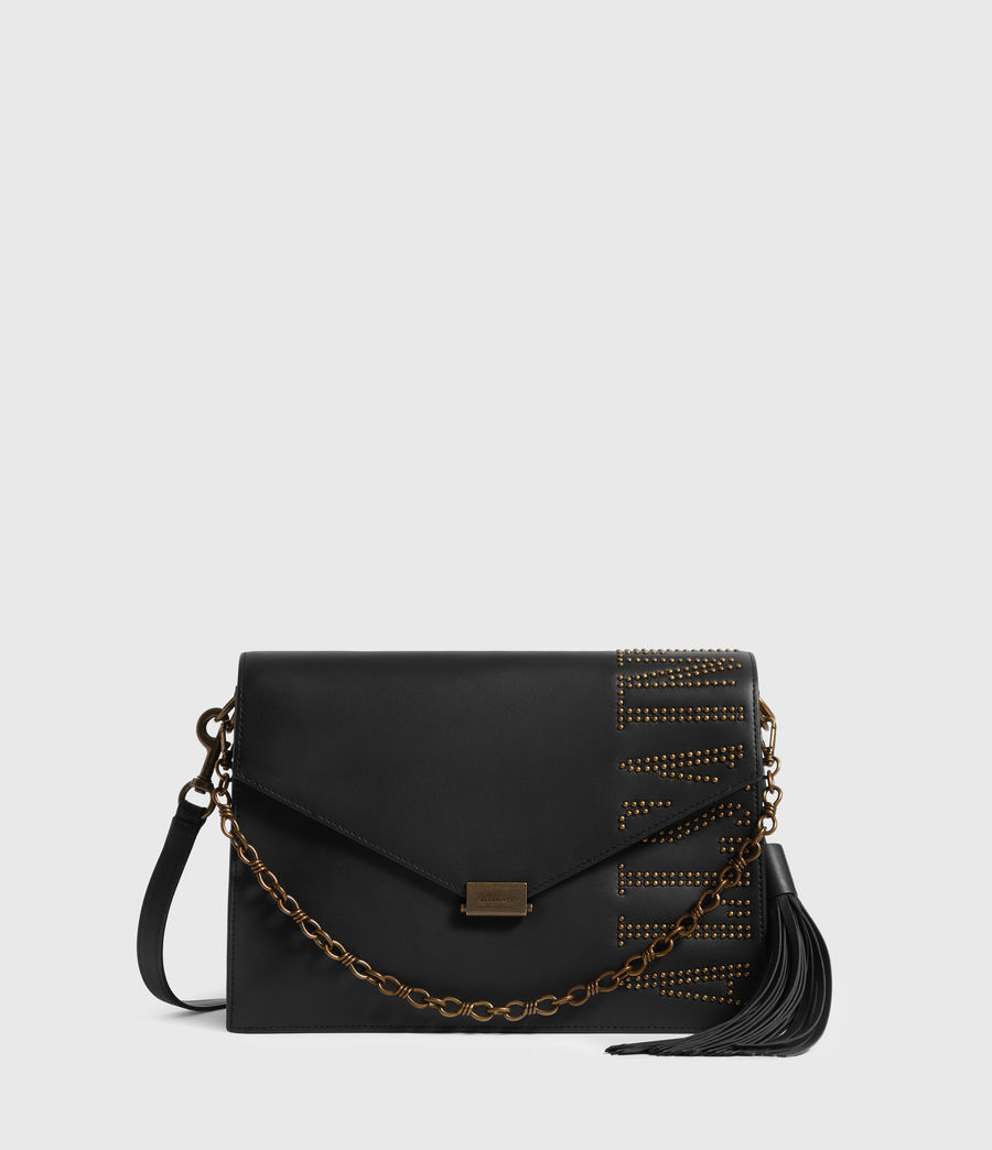 Women's Nina Stud Leather Shoulder Bag (black) - Image 2
