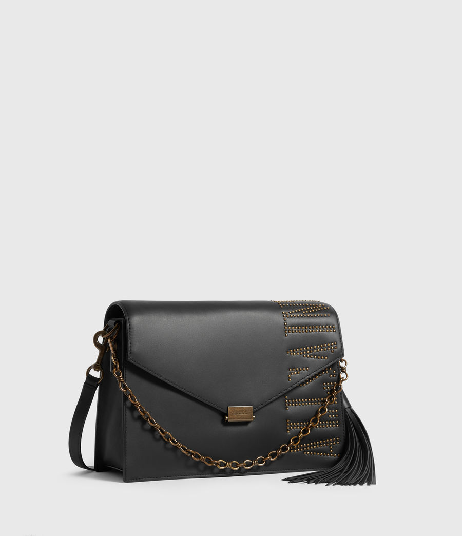 Womens Nina Stud Leather Shoulder Bag (black) - Image 3