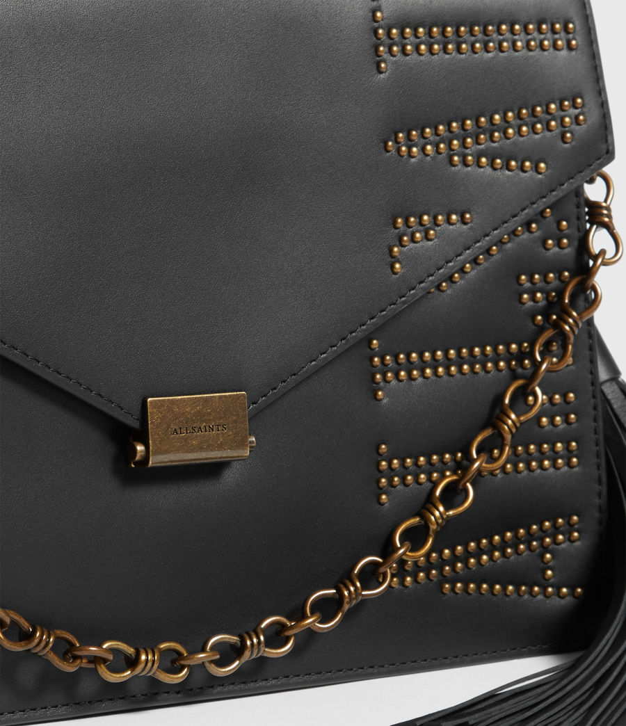 Womens Nina Stud Leather Shoulder Bag (black) - Image 4