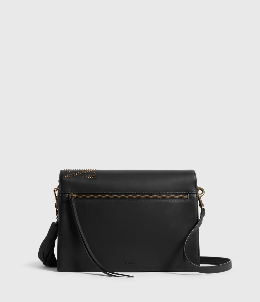 Women's Nina Stud Leather Shoulder Bag (black) - Image 7