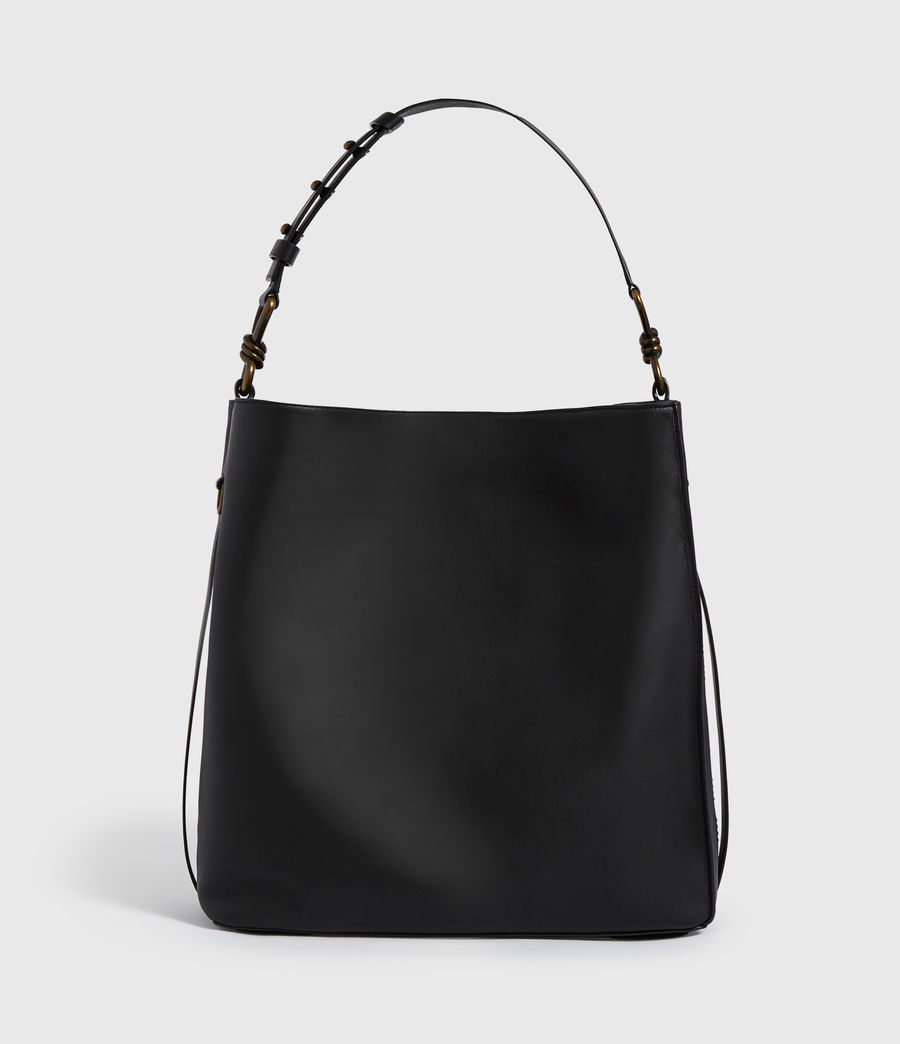 Womens Nina Stud North South Leather Tote Bag (black) - Image 1