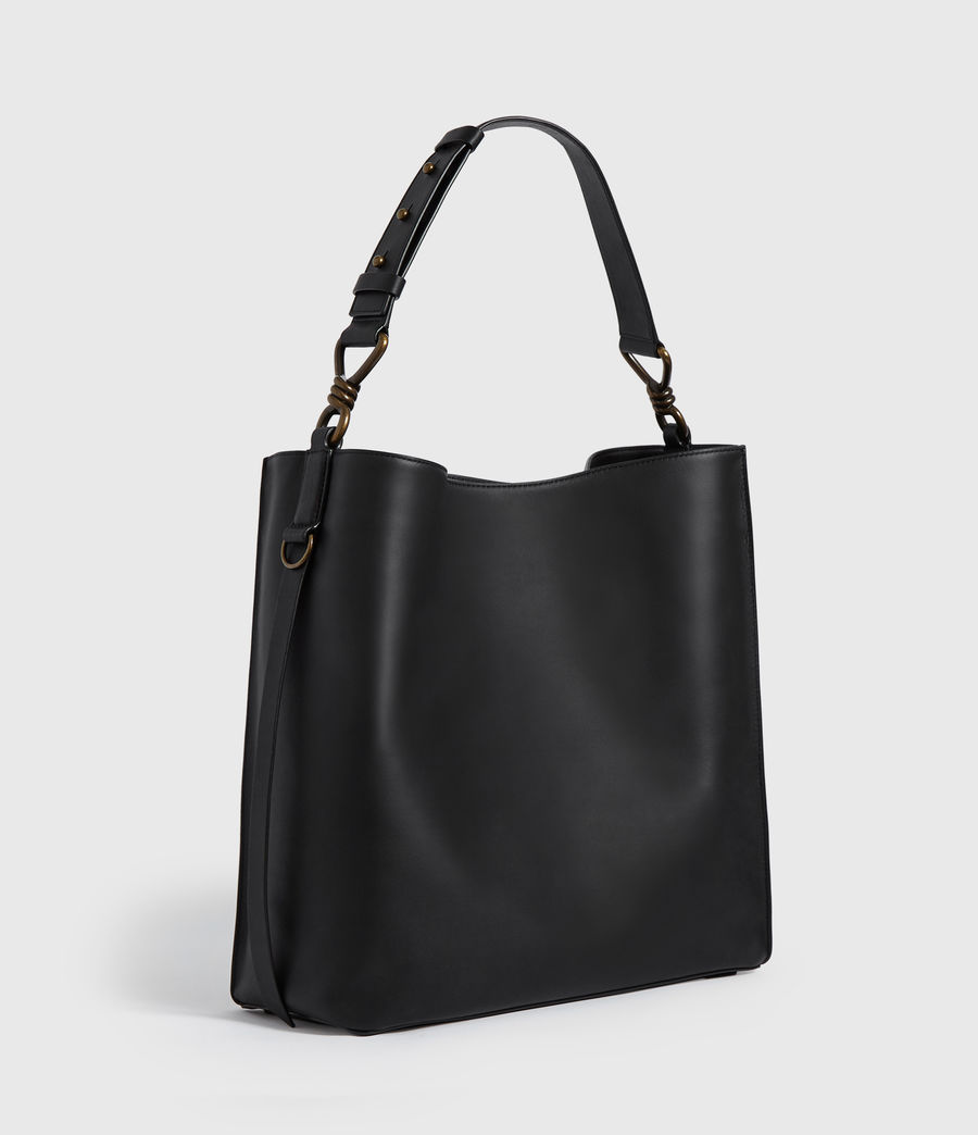Womens Nina Stud North South Leather Tote Bag (black) - Image 3