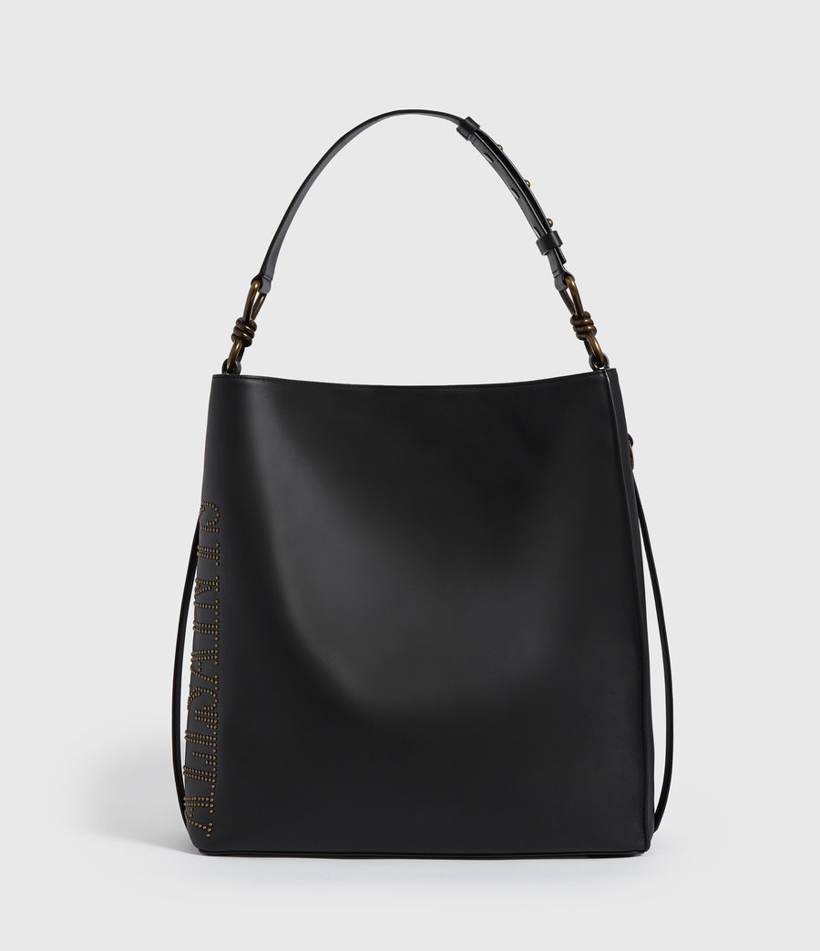 Womens Nina Stud North South Leather Tote Bag (black) - Image 7