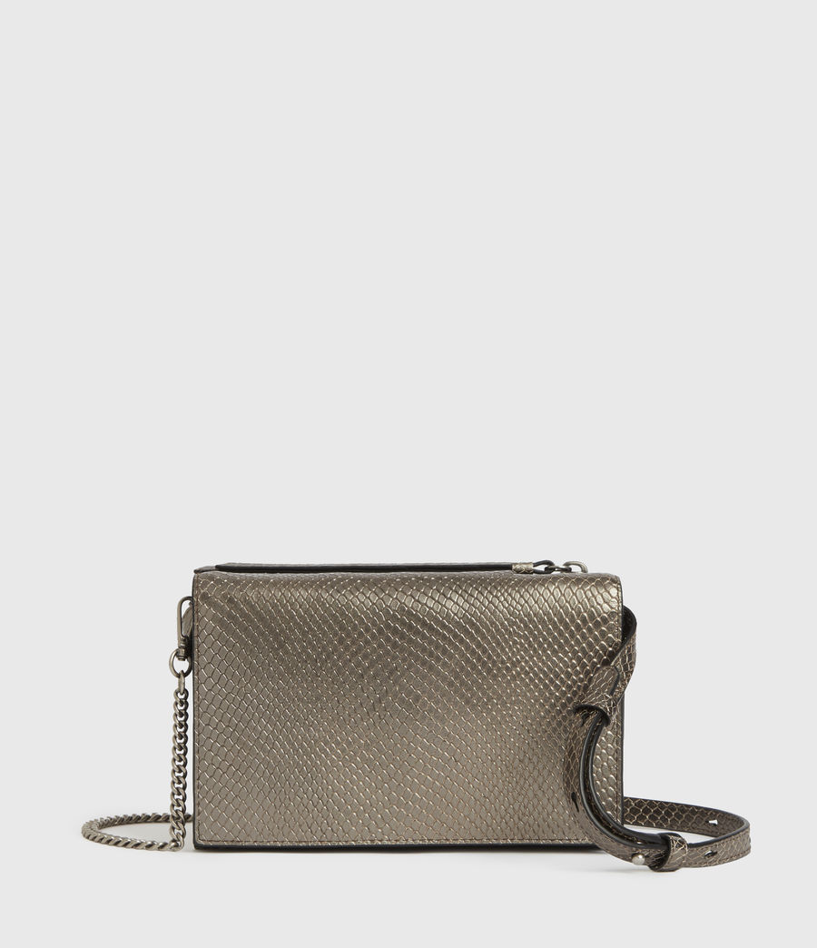 Mujer Fetch Chain Leather Crossbody Bag (gunmetal) - Image 1