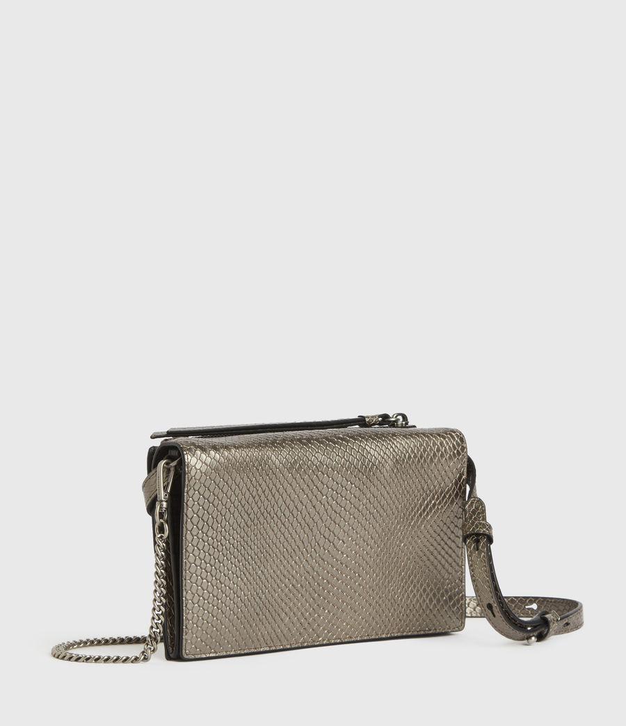 Mujer Fetch Chain Leather Crossbody Bag (gunmetal) - Image 2