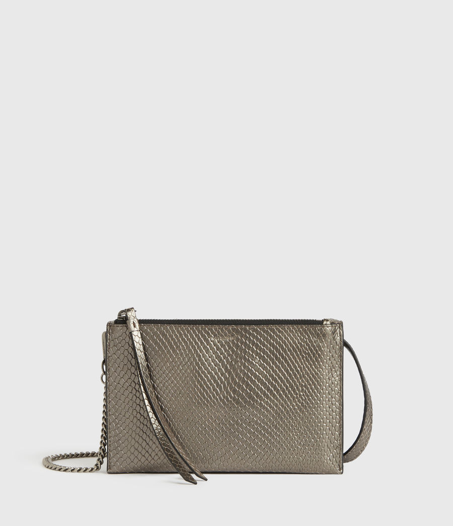 Mujer Fetch Chain Leather Crossbody Bag (gunmetal) - Image 5