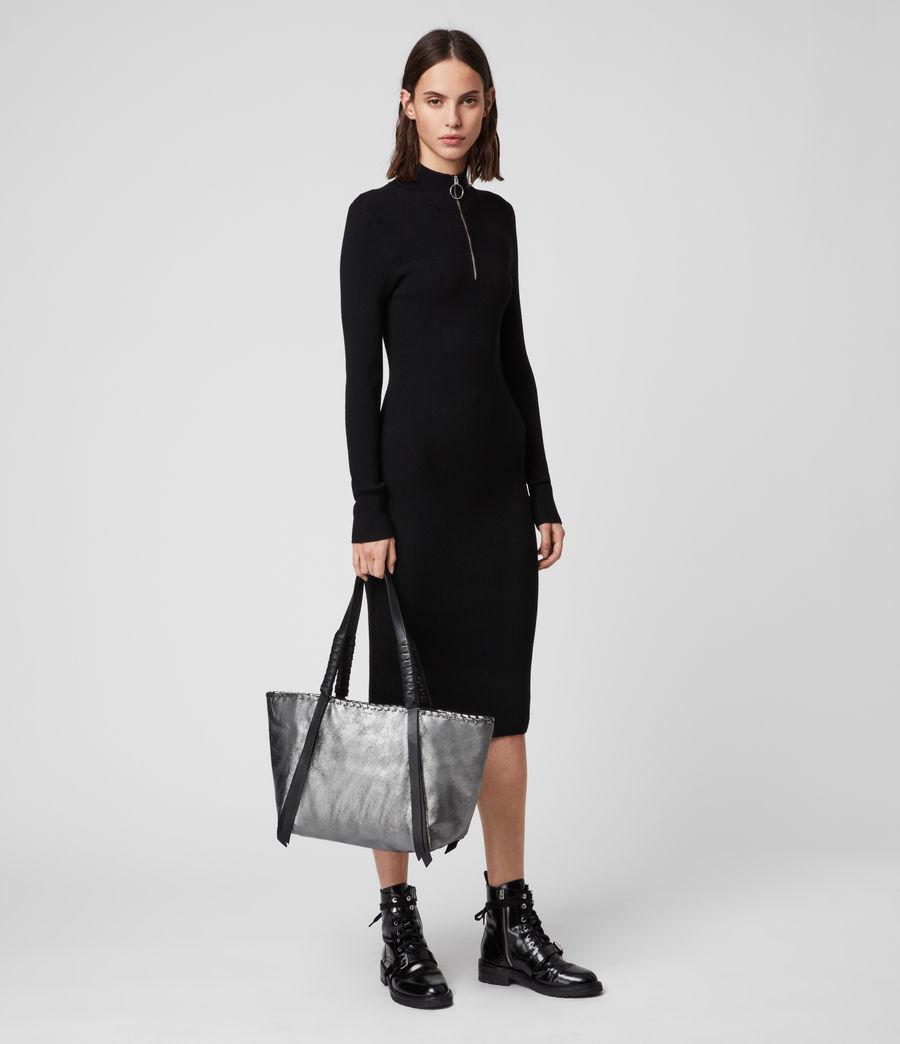 Womens Miki Lea Leather East West Tote Bag (gunsmoke_grey) - Image 7