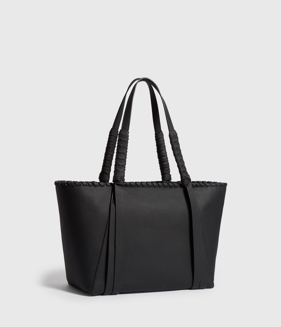 Women's Kepi Small East West Leather Tote Bag (black) - Image 3