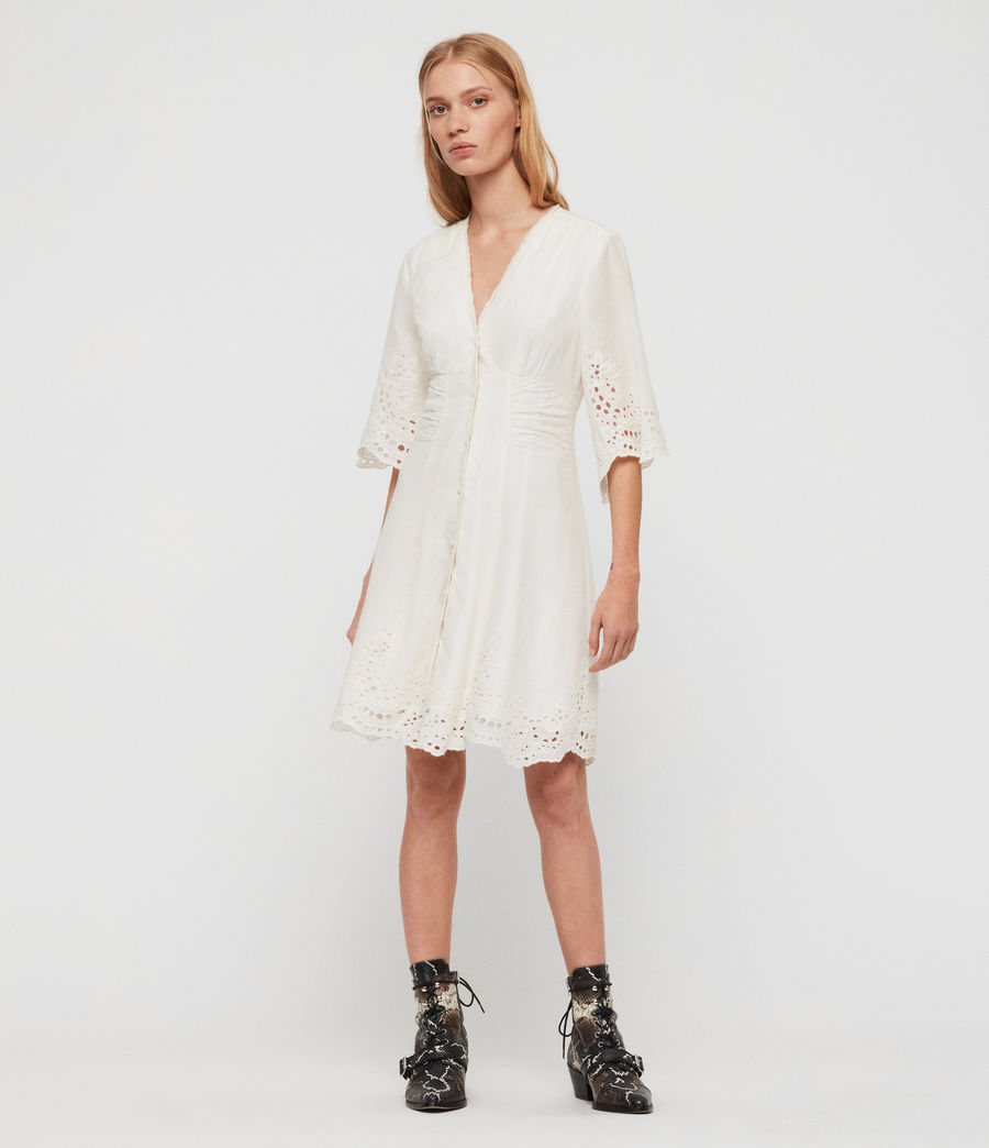 Women's Una Broderie Dress (chalk_white) - Image 3