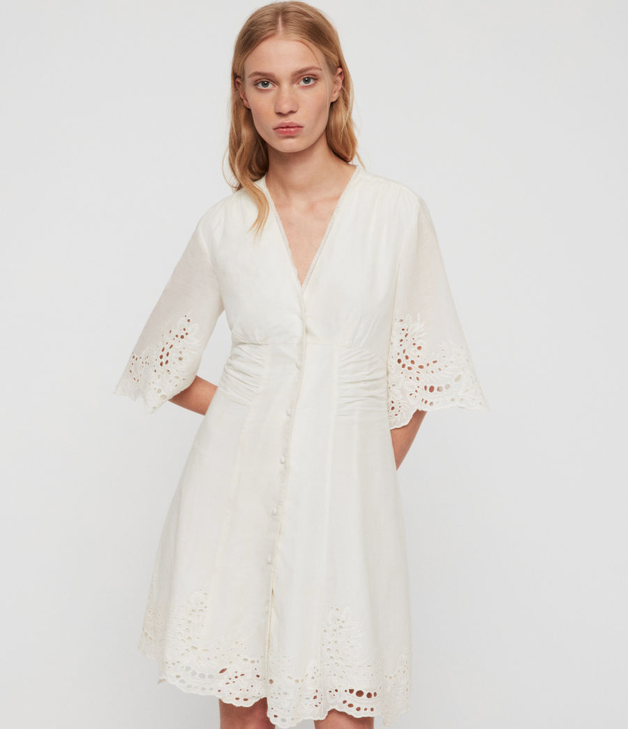 Women's Una Broderie Dress (chalk_white) - Image 4