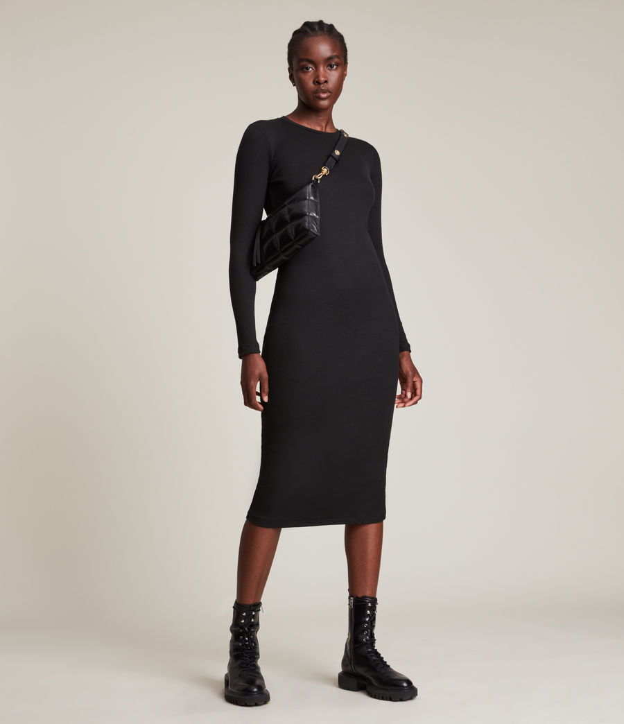 Femmes Robe Manches Longues Molly (black) - Image 1