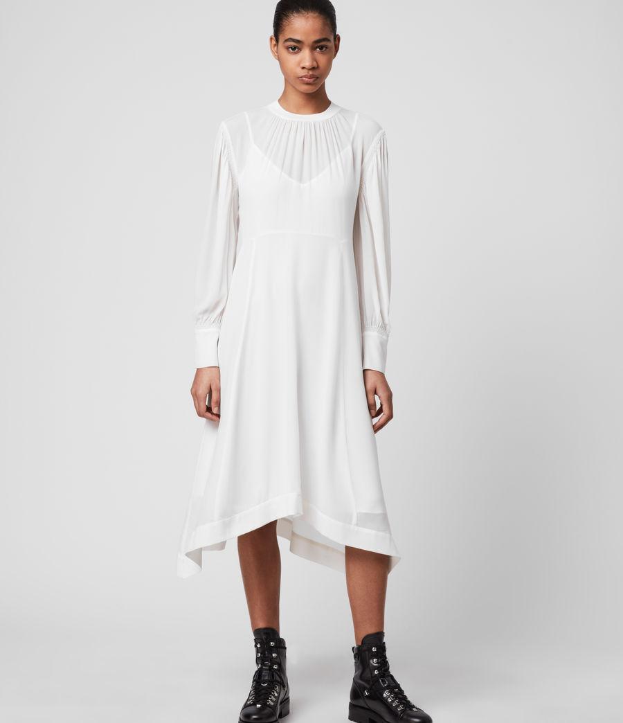 Femmes Robe Asymétrique à Manches Bishop Fayre (chalk_white) - Image 1