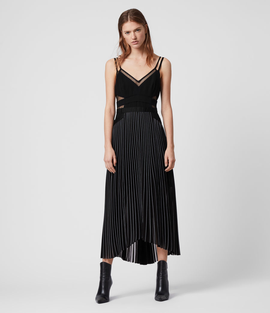 Damen Cora Plissiertes Kleid (black) - Image 1