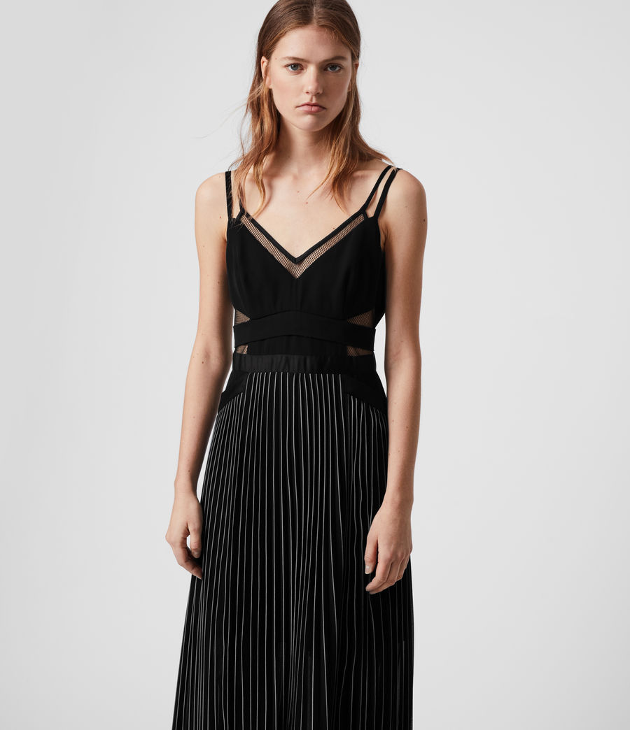 Womens Cora Pleat Dress (black) - Image 3