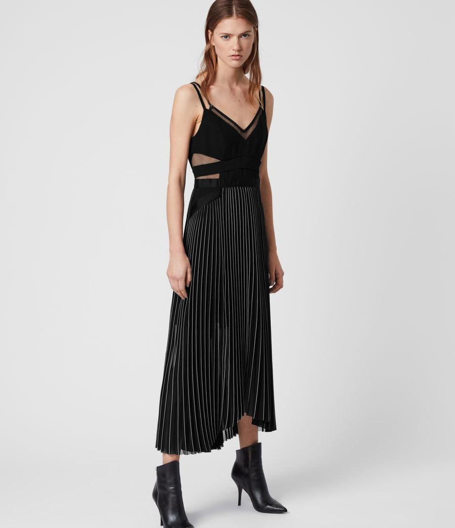 Damen Cora Plissiertes Kleid (black) - Image 4