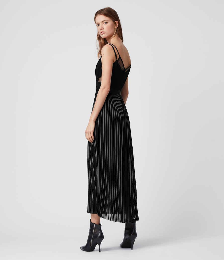 Womens Cora Pleat Dress (black) - Image 6