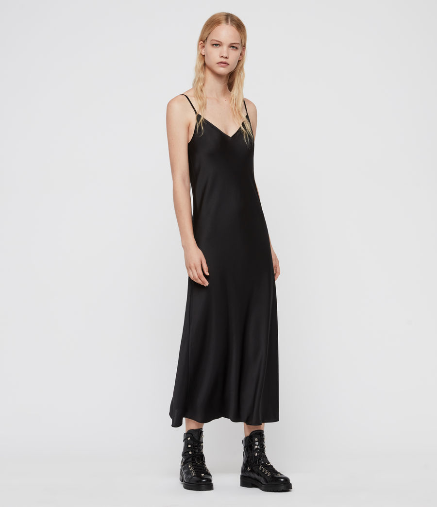 Womens Karla Slip Dress (black) - Image 3