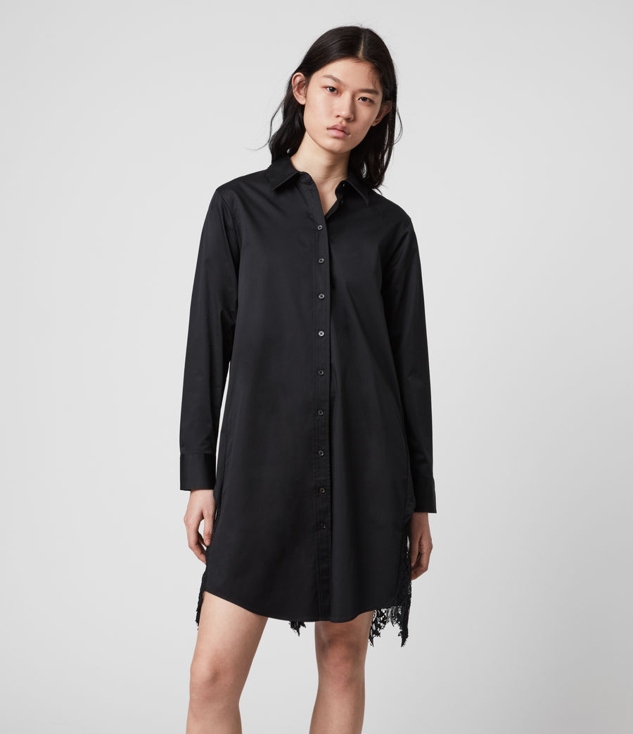 Womens Iris Lace Shirt Dress (black) - Image 1