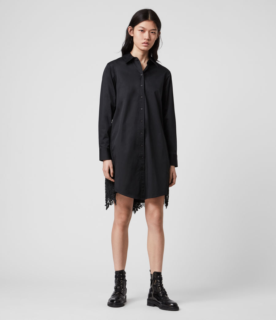 Womens Iris Lace Shirt Dress (black) - Image 2