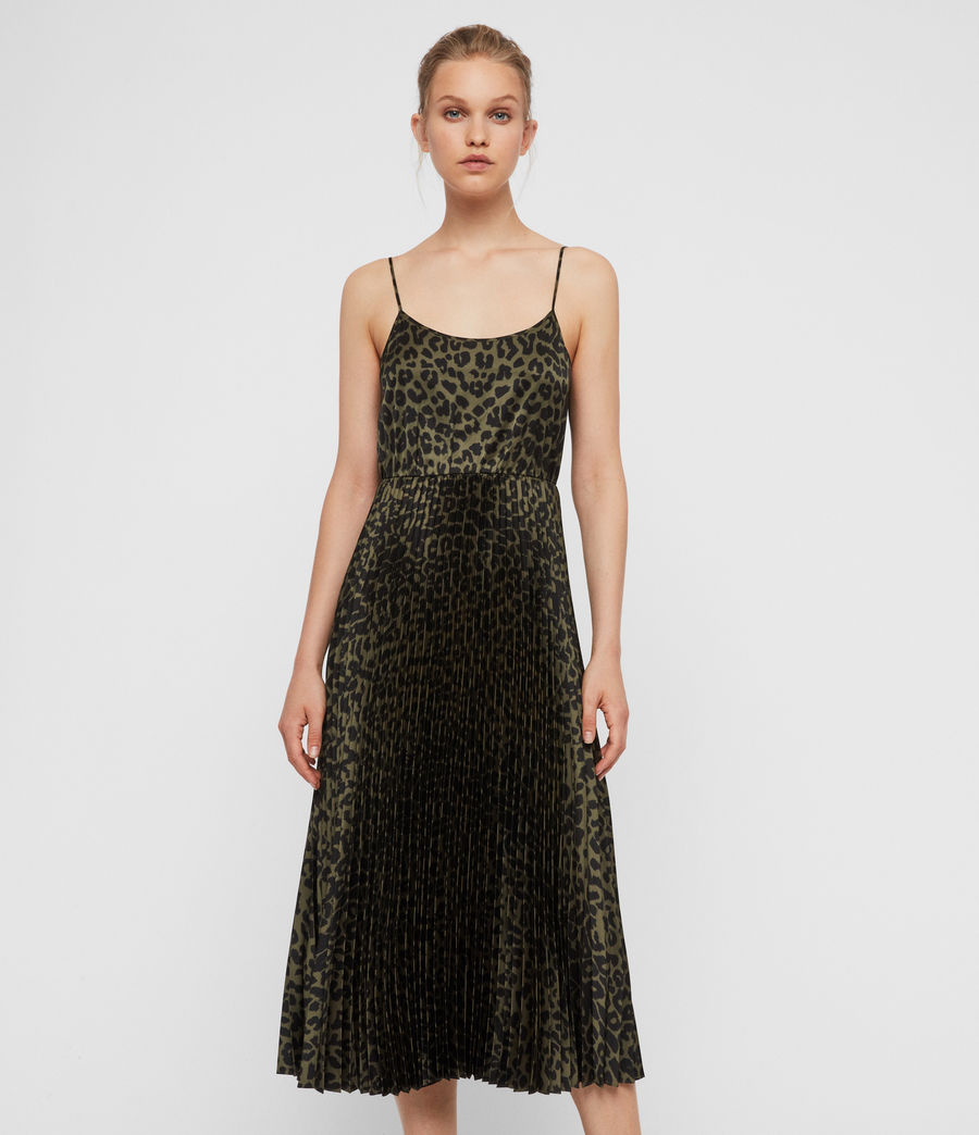 Donne Abito Leowa - 2-in-1 con slip dress leopardato e maglione corto (black_khaki_green) - Image 2