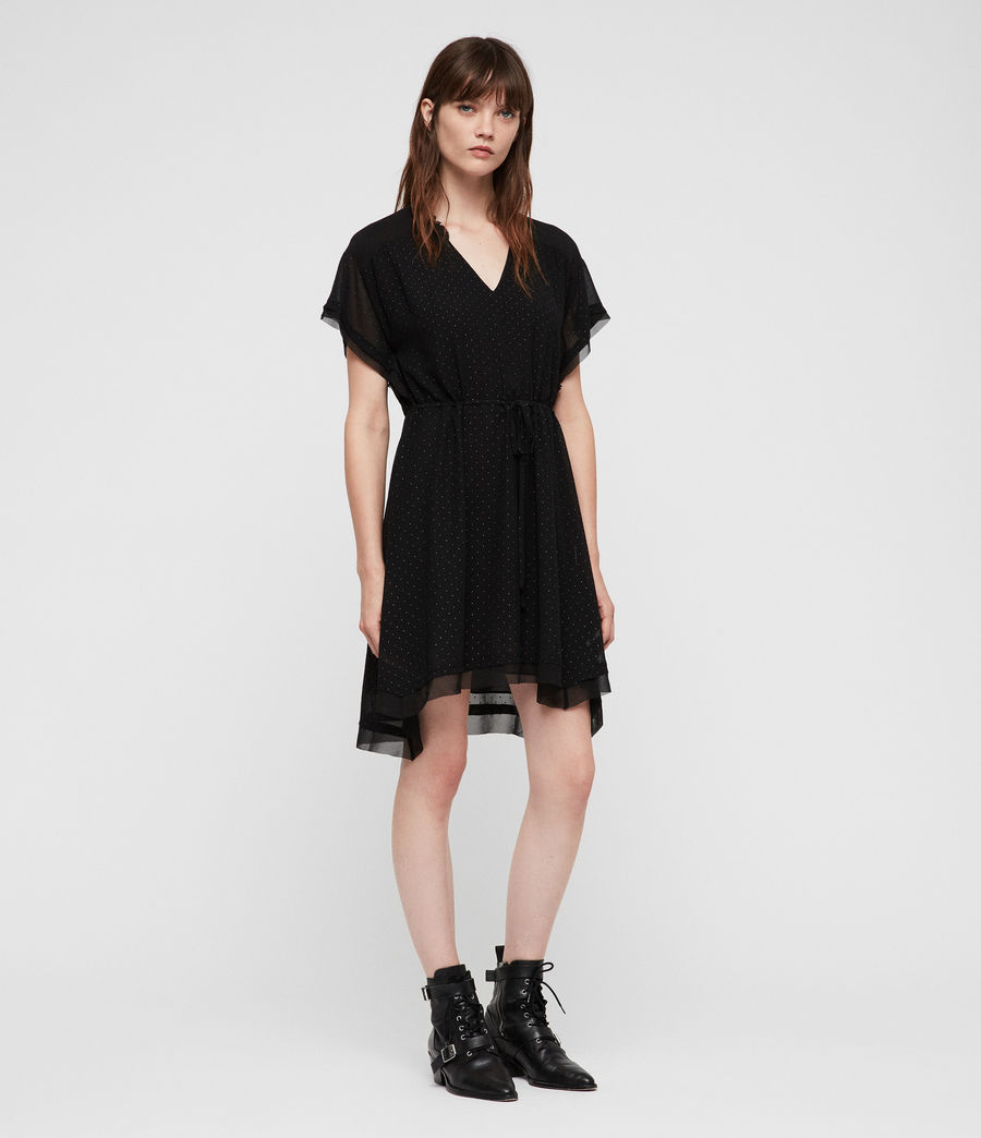 Womens Keira Shimmer Dress (black) - Image 3