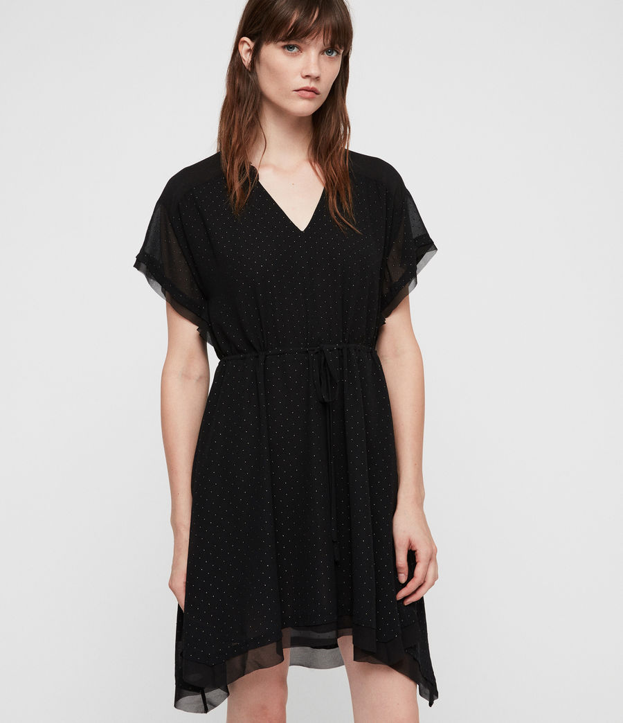 Womens Keira Shimmer Dress (black) - Image 4